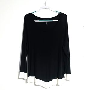 I.N.C. Black Long Sleeve Knit Tunic White Hem